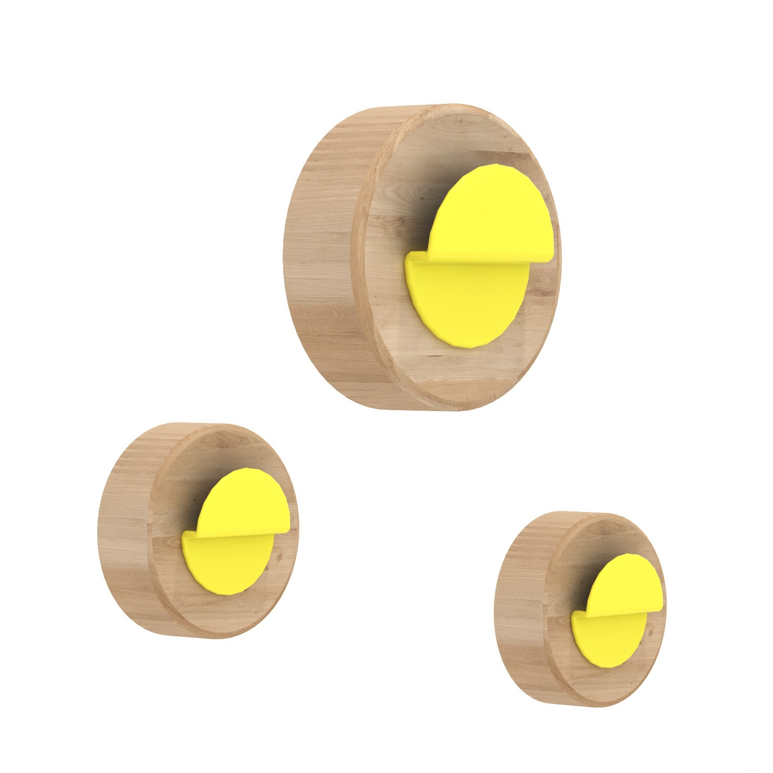 Coat Hanger Agent Solo Set 3 pcs By UNIVERSOPOSITIVO - Natural Oak /  Yellow color