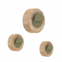 Coat Hanger Agent Solo Set 3 pcs By UNIVERSOPOSITIVO - Natural Oak /  Khaki color